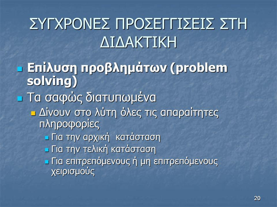 20 ΣΥΓΧΡΟΝΕΣ ΠΡΟΣΕΓΓΙΣΕΙΣ ΣΤΗ ΔΙΔΑΚΤΙΚΗ Επίλυση προβλημάτων (problem solving) Επίλυση προβλημάτων (problem solving) Τα σαφώς διατυπωμένα Τα σαφώς διατυπωμένα Δίνουν στο λύτη όλες τις απαραίτητες πληροφορίες Δίνουν στο λύτη όλες τις απαραίτητες πληροφορίες Για την αρχική κατάσταση Για την αρχική κατάσταση Για την τελική κατάσταση Για την τελική κατάσταση Για επιτρεπόμενους ή μη επιτρεπόμενους χειρισμούς Για επιτρεπόμενους ή μη επιτρεπόμενους χειρισμούς