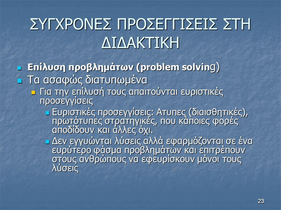 23 ΣΥΓΧΡΟΝΕΣ ΠΡΟΣΕΓΓΙΣΕΙΣ ΣΤΗ ΔΙΔΑΚΤΙΚΗ Επίλυση προβλημάτων (problem solvin g) Επίλυση προβλημάτων (problem solvin g) Τα ασαφώς διατυπωμένα Τα ασαφώς διατυπωμένα Για την επίλυσή τους απαιτούνται ευριστικές προσεγγίσεις Για την επίλυσή τους απαιτούνται ευριστικές προσεγγίσεις Ευριστικές προσεγγίσεις: Ατυπες (διαισθητικές), πρωτότυπες στρατηγικές, που κάποιες φορές αποδίδουν και άλλες όχι.