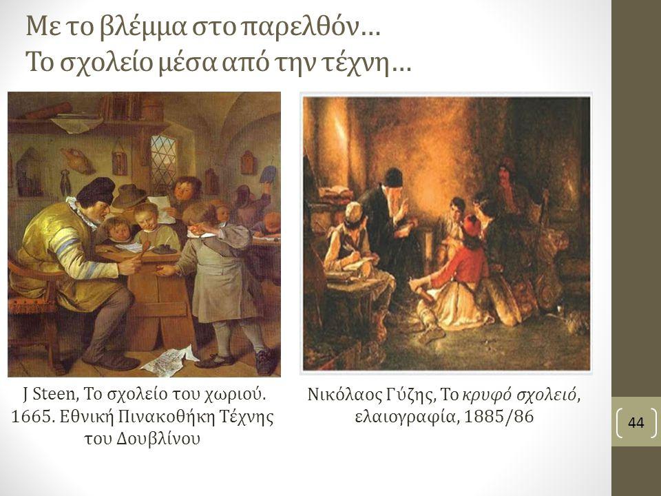 Με το βλέμμα στο παρελθόν… Το σχολείο μέσα από την τέχνη… Νικόλαος Γύζης, Το κρυφό σχολειό, ελαιογραφία, 1885/86 44 J Steen, To σχολείο του χωριού.