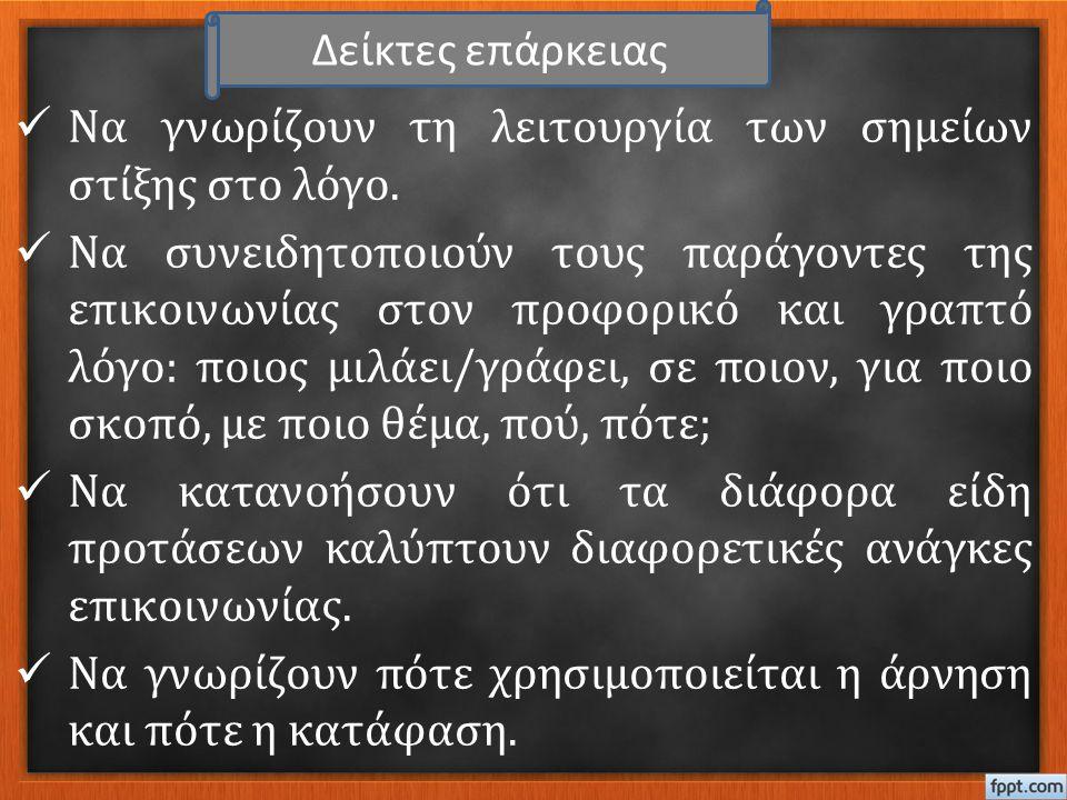 Ομάδα Γ΄  Αφού μελετήσουν το κείμενο να εντοπίσουν δύο προτάσεις μέσα από τις οποίες ο ήρωας να εκφράζει τη σύμφωνη γνώμη του (Καταφατικές) και δύο μέσα από τις οποίες να εκφράζει την άρνησή του (Αρνητικές).