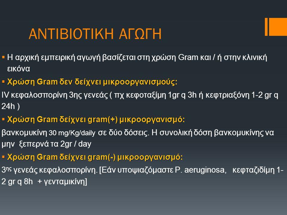 ΑΝΤΙΒΙΟΤΙΚΗ ΑΓΩΓΗ  Η αρχική εμπειρική αγωγή βασίζεται στη χρώση Gram και / ή στην κλινική εικόνα  Χρώση Gram δεν δείχνει μικροοργανισμούς  Χρώση Gr