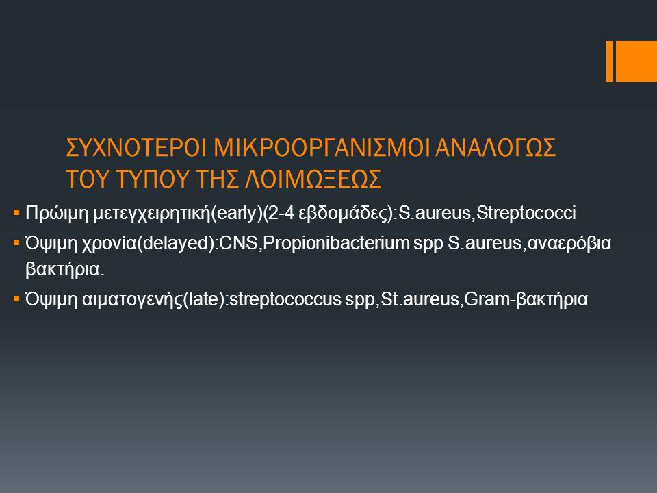 ΣΥΧΝΟΤΕΡΟΙ ΜΙΚΡΟΟΡΓΑΝΙΣΜΟΙ ΑΝΑΛΟΓΩΣ ΤΟΥ ΤΥΠΟΥ ΤΗΣ ΛΟΙΜΩΞΕΩΣ  Πρώιμη μετεγχειρητική(early)(2-4 εβδομάδες):S.aureus,Streptococci  Όψιμη χρονία(delayed