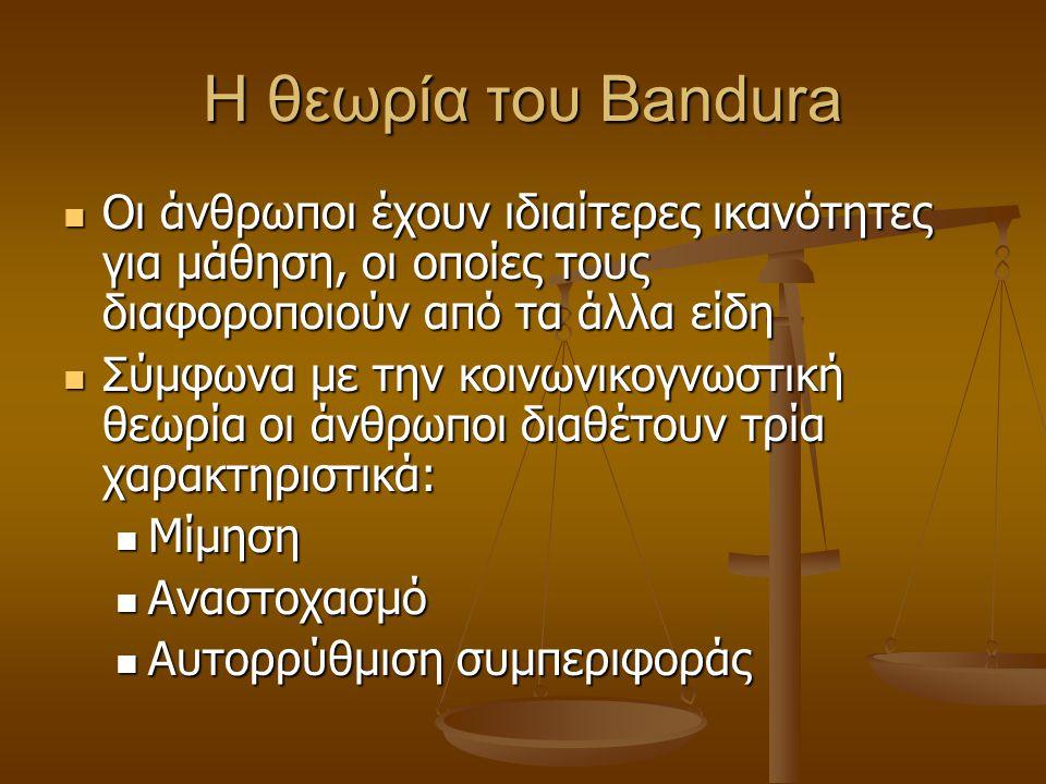 Κοινωνική μάθηση-Bandura ή μάθηση μέσω παρατήρησης και μίμησης προτύπου Ο Bandura δεν θεωρεί τον εαυτό του θεωρητικό της κοινωνικής μάθησης˙ προτιμάει
