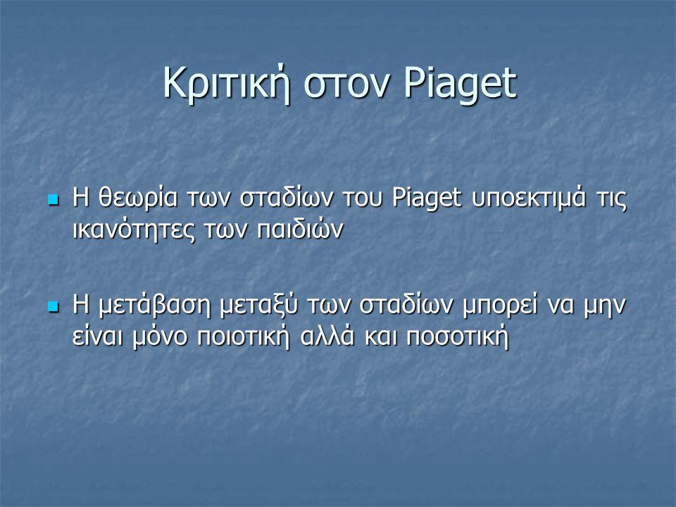Η θεωρία του Piaget στη σχολική τάξη Έμφαση στη διαδικασία σκέψης του παιδιού και όχι στα προϊόντα της. Αναγνώριση του κεντρικού ρόλου της άμεσης και