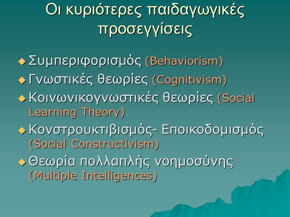 Οι κυριότερες παιδαγωγικές προσεγγίσεις  Συμπεριφορισμός (Behaviorism)  Γνωστικές θεωρίες (Cognitivism)  Κοινωνικογνωστικές θεωρίες (Social Learning Theory)  Κονστρουκτιβισμός- Εποικοδομισμός (Social Constructivism)  Θεωρία πολλαπλής νοημοσύνης (Multiple Intelligences)