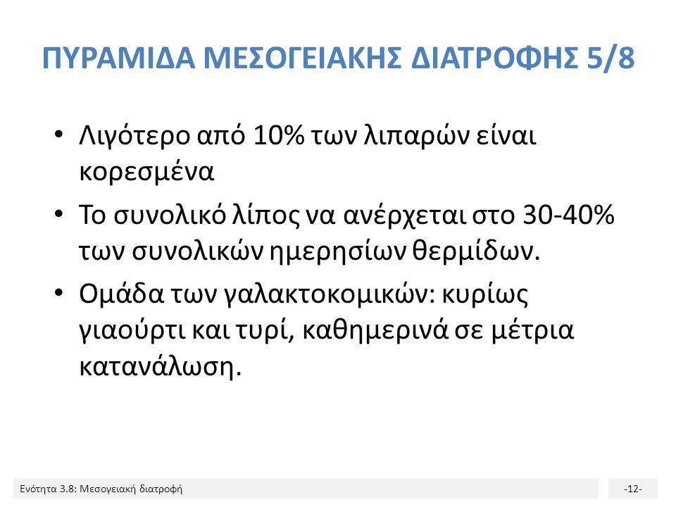 Ενότητα 3.8: Μεσογειακή διατροφή-12- ΠΥΡΑΜΙΔΑ ΜΕΣΟΓΕΙΑΚΗΣ ΔΙΑΤΡΟΦΗΣ 5/8 Λιγότερο από 10% των λιπαρών είναι κορεσμένα Το συνολικό λίπος να ανέρχεται στ