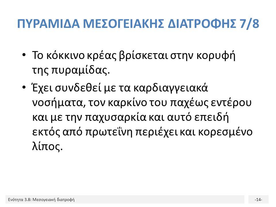 Ενότητα 3.8: Μεσογειακή διατροφή-14- ΠΥΡΑΜΙΔΑ ΜΕΣΟΓΕΙΑΚΗΣ ΔΙΑΤΡΟΦΗΣ 7/8 Το κόκκινο κρέας βρίσκεται στην κορυφή της πυραμίδας.