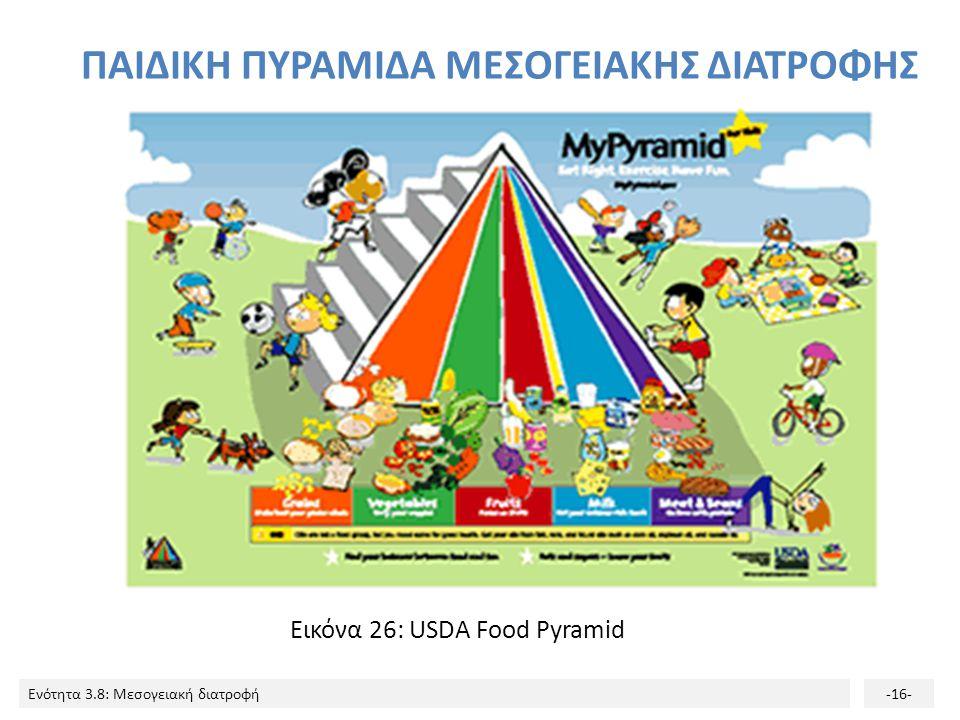 Ενότητα 3.8: Μεσογειακή διατροφή-16- ΠΑΙΔΙΚΗ ΠΥΡΑΜΙΔΑ ΜΕΣΟΓΕΙΑΚΗΣ ΔΙΑΤΡΟΦΗΣ Εικόνα 26: USDA Food Pyramid