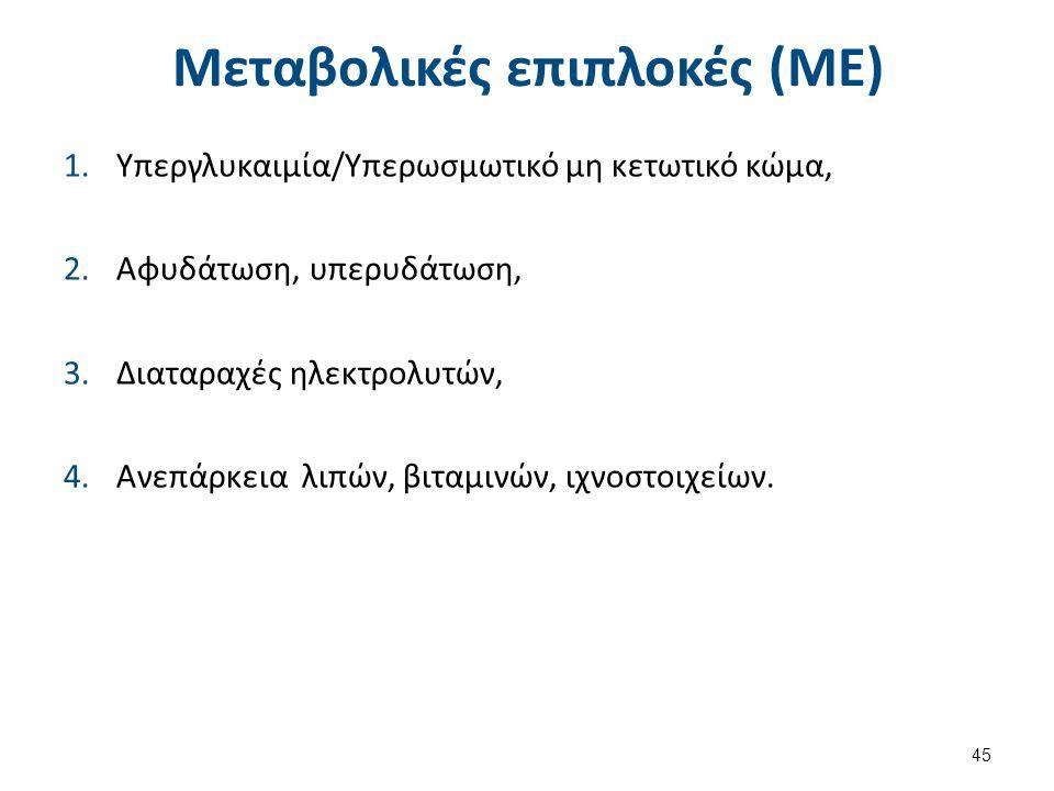 Μεταβολικές επιπλοκές (ΜΕ) 1.Υπεργλυκαιμία/Υπερωσμωτικό μη κετωτικό κώμα, 2.Αφυδάτωση, υπερυδάτωση, 3.Διαταραχές ηλεκτρολυτών, 4.Ανεπάρκεια λιπών, βιταμινών, ιχνοστοιχείων.