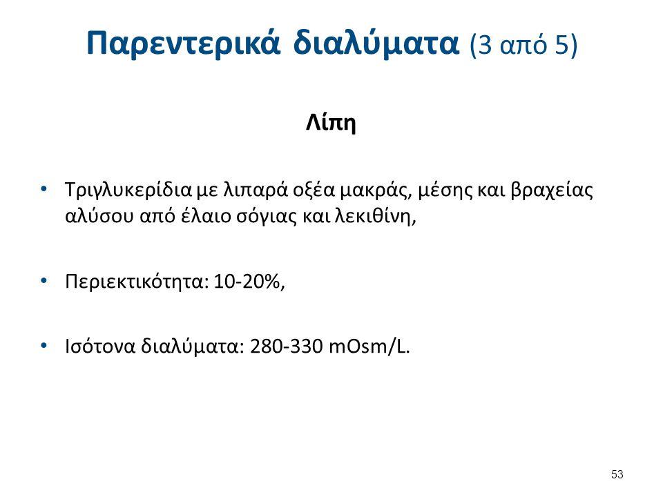 Παρεντερικά διαλύματα (3 από 5) Λίπη Τριγλυκερίδια με λιπαρά οξέα μακράς, μέσης και βραχείας αλύσου από έλαιο σόγιας και λεκιθίνη, Περιεκτικότητα: 10-20%, Ισότονα διαλύματα: 280-330 mOsm/L.