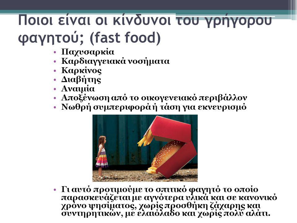 Ποιοι είναι οι κίνδυνοι του γρήγορου φαγητού; (fast food) Παχυσαρκία Καρδιαγγειακά νοσήματα Καρκίνος Διαβήτης Αναιμία Αποξένωση από το οικογενειακό περιβάλλον Νωθρή συμπεριφορά ή τάση για εκνευρισμό Γι αυτό προτιμούμε το σπιτικό φαγητό το οποίο παρασκευάζεται με αγνότερα υλικά και σε κανονικό χρόνο ψησίματος, χωρίς προσθήκη ζάχαρης και συντηρητικών, με ελαιόλαδο και χωρίς πολύ αλάτι.