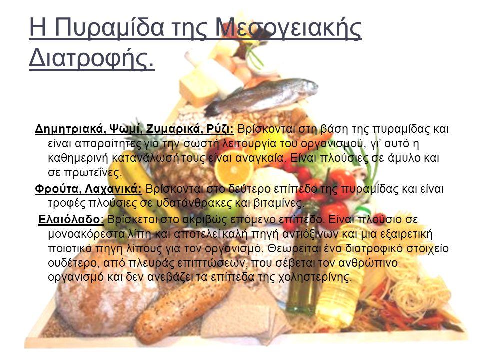 Η Πυραμίδα της Μεσογειακής Διατροφής. Δημητριακά, Ψωμί, Ζυμαρικά, Ρύζι: Βρίσκονται στη βάση της πυραμίδας και είναι απαραίτητες για την σωστή λειτουργ