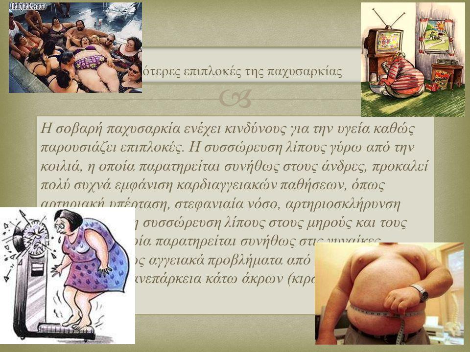  Η σοβαρή παχυσαρκία ενέχει κινδύνους για την υγεία καθώς παρουσιάζει επιπλοκές. Η συσσώρευση λίπους γύρω από την κοιλιά, η οποία παρατηρείται συνήθω