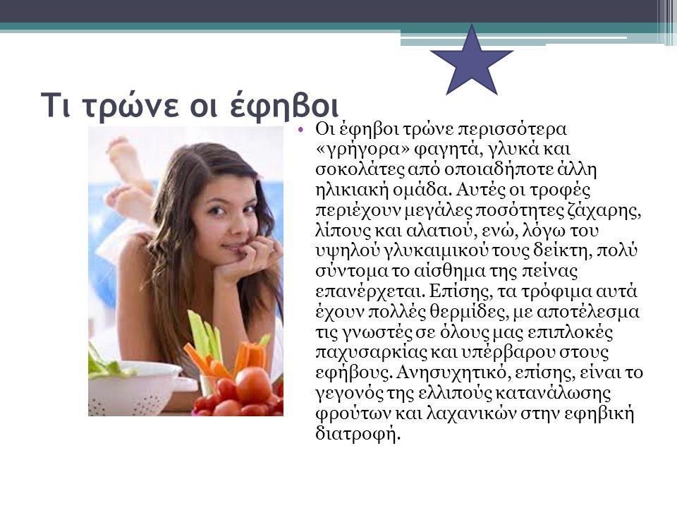 Τι τρώνε οι έφηβοι Οι έφηβοι τρώνε περισσότερα «γρήγορα» φαγητά, γλυκά και σοκολάτες από οποιαδήποτε άλλη ηλικιακή ομάδα. Αυτές οι τροφές περιέχουν με