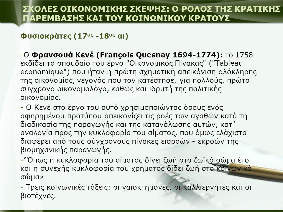 Φυσιοκράτες (17 ος -18 ος αι) -Ο Φρανσουά Κενέ (François Quesnay 1694-1774): το 1758 εκδίδει το σπουδαίο του έργο