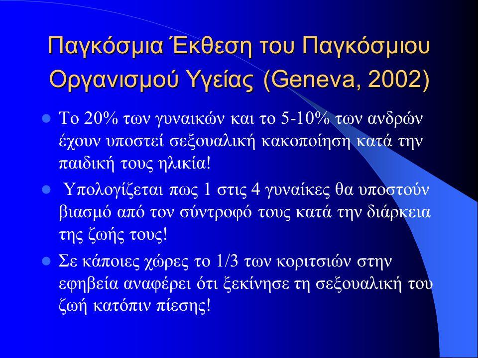 Παγκόσμια Έκθεση του Παγκόσμιου Οργανισμού Υγείας (Geneva, 2002) Το 20% των γυναικών και το 5-10% των ανδρών έχουν υποστεί σεξουαλική κακοποίηση κατά