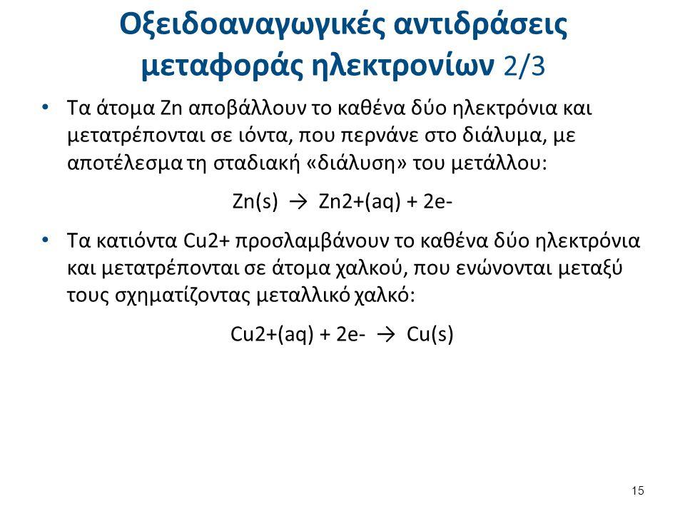Οξειδοαναγωγικές αντιδράσεις μεταφοράς ηλεκτρονίων 2/3 Τα άτομα Zn αποβάλλουν το καθένα δύο ηλεκτρόνια και μετατρέπονται σε ιόντα, που περνάνε στο διά