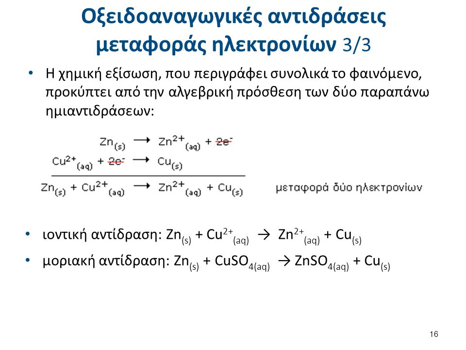 Οξειδοαναγωγικές αντιδράσεις μεταφοράς ηλεκτρονίων 3/3 Η χημική εξίσωση, που περιγράφει συνολικά το φαινόμενο, προκύπτει από την αλγεβρική πρόσθεση τω