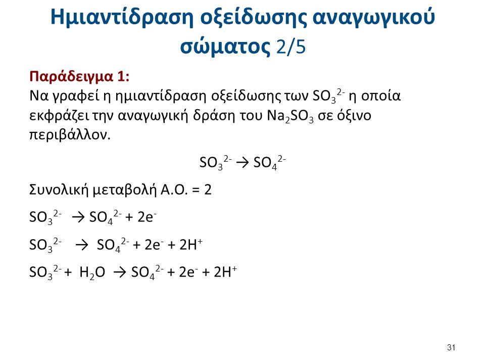 Ημιαντίδραση οξείδωσης αναγωγικού σώματος 2/5 Παράδειγμα 1: Να γραφεί η ημιαντίδραση οξείδωσης των SO 3 2- η οποία εκφράζει την αναγωγική δράση του Νa