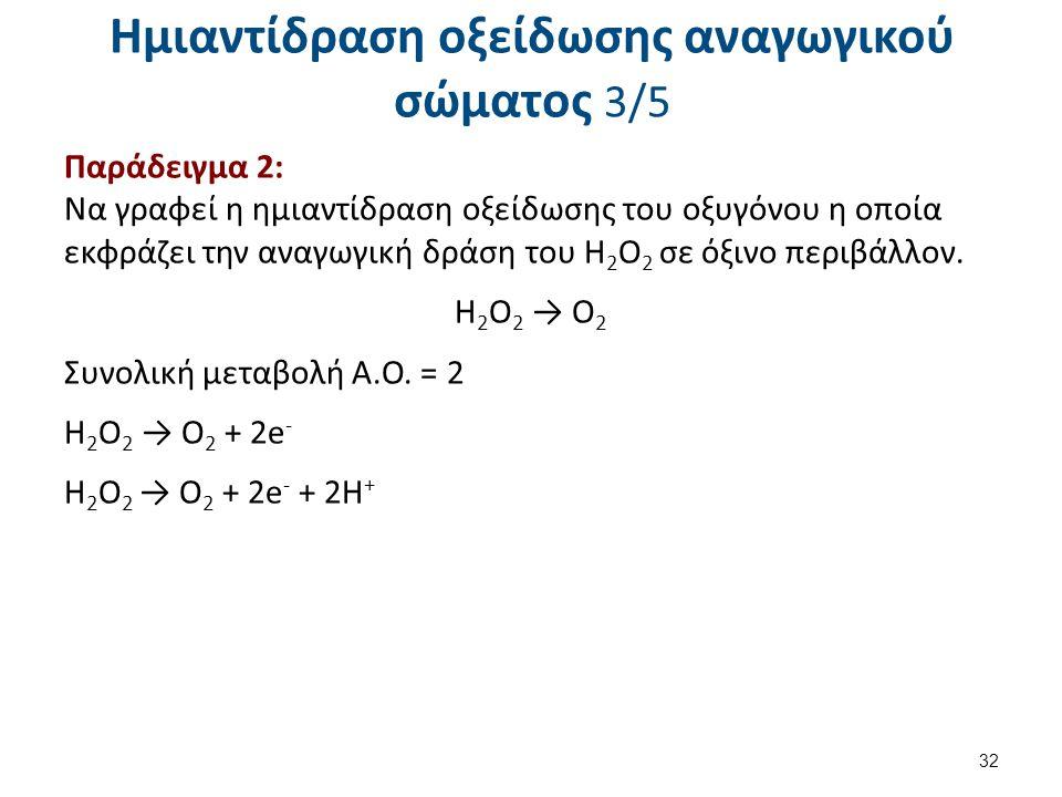 Ημιαντίδραση οξείδωσης αναγωγικού σώματος 3/5 Παράδειγμα 2: Να γραφεί η ημιαντίδραση οξείδωσης του οξυγόνου η οποία εκφράζει την αναγωγική δράση του Η