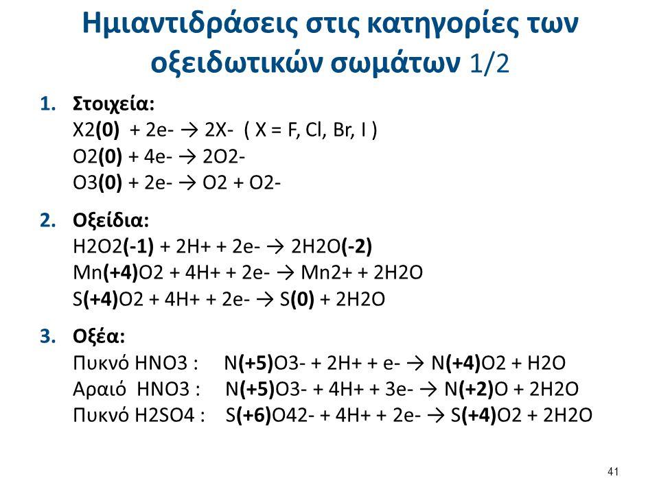 Ημιαντιδράσεις στις κατηγορίες των οξειδωτικών σωμάτων 1/2 1.Στοιχεία: Χ2(0) + 2e- → 2X- ( X = F, Cl, Br, I ) O2(0) + 4e- → 2O2- O3(0) + 2e- → O2 + O2