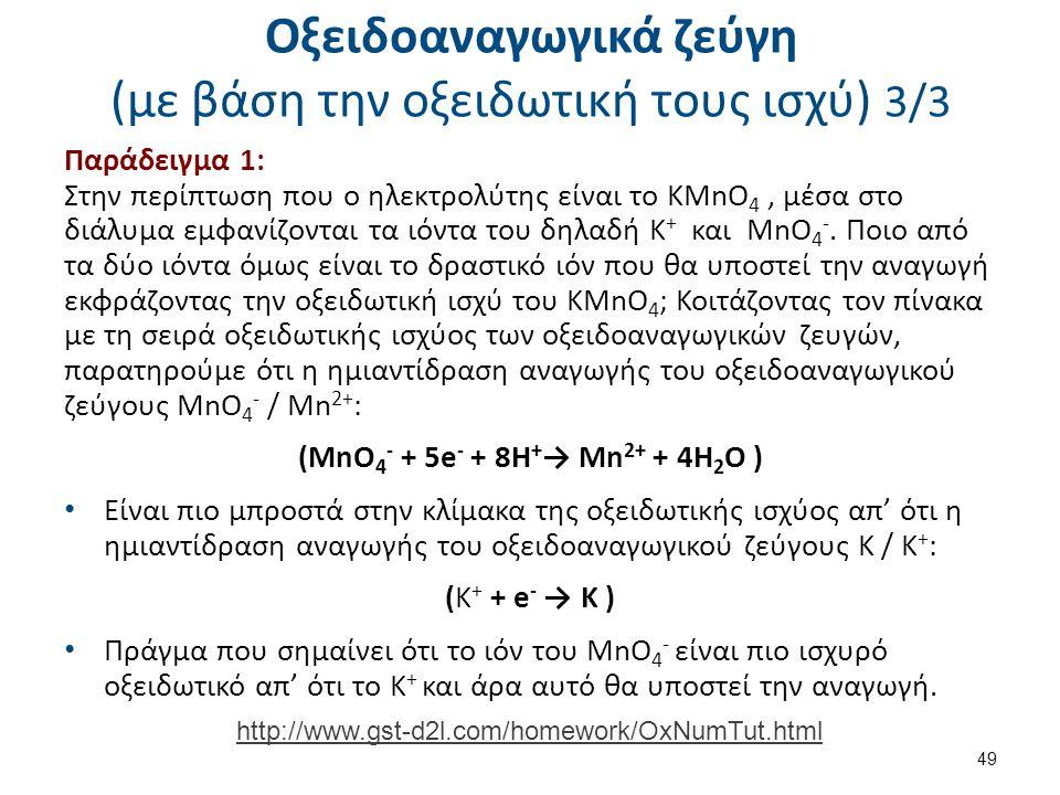 Οξειδοαναγωγικά ζεύγη (με βάση την οξειδωτική τους ισχύ) 3/3 Παράδειγμα 1: Στην περίπτωση που ο ηλεκτρολύτης είναι το KMnO 4, μέσα στο διάλυμα εμφανίζ