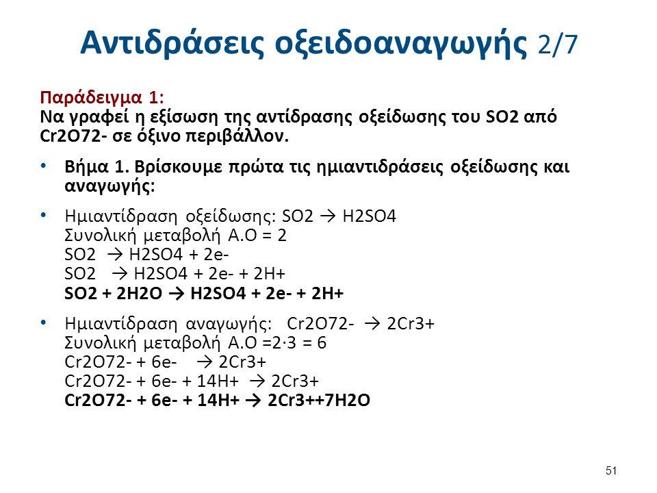 Αντιδράσεις οξειδοαναγωγής 2/7 Παράδειγμα 1: Να γραφεί η εξίσωση της αντίδρασης οξείδωσης του SO2 από Cr2O72- σε όξινο περιβάλλον. Βήμα 1. Βρίσκουμε π
