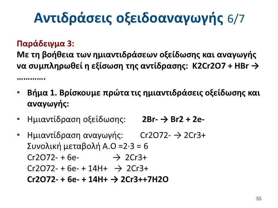 Αντιδράσεις οξειδοαναγωγής 6/7 Παράδειγμα 3: Με τη βοήθεια των ημιαντιδράσεων οξείδωσης και αναγωγής να συμπληρωθεί η εξίσωση της αντίδρασης: K2Cr2O7