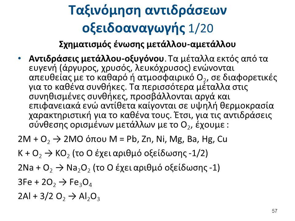 Ταξινόμηση αντιδράσεων οξειδοαναγωγής 1/20 Σχηματισμός ένωσης μετάλλου-αμετάλλου Αντιδράσεις μετάλλου-οξυγόνου. Τα μέταλλα εκτός από τα ευγενή (άργυρο