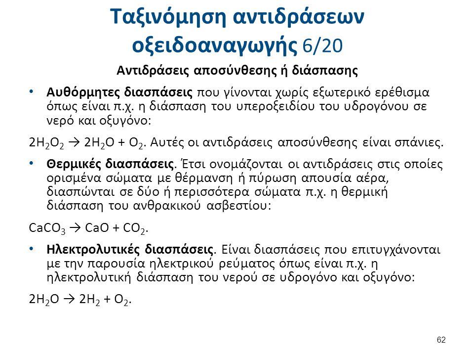 Ταξινόμηση αντιδράσεων οξειδοαναγωγής 6/20 Αντιδράσεις αποσύνθεσης ή διάσπασης Αυθόρμητες διασπάσεις που γίνονται χωρίς εξωτερικό ερέθισμα όπως είναι
