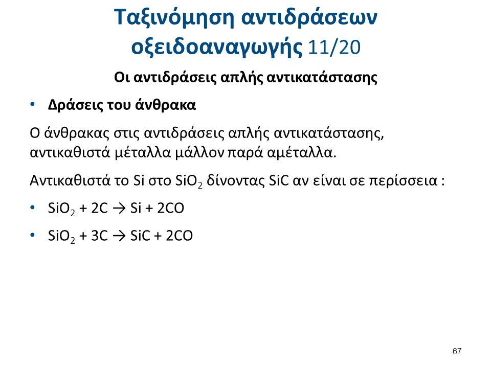 Ταξινόμηση αντιδράσεων οξειδοαναγωγής 11/20 Οι αντιδράσεις απλής αντικατάστασης Δράσεις του άνθρακα O άνθρακας στις αντιδράσεις απλής αντικατάστασης,