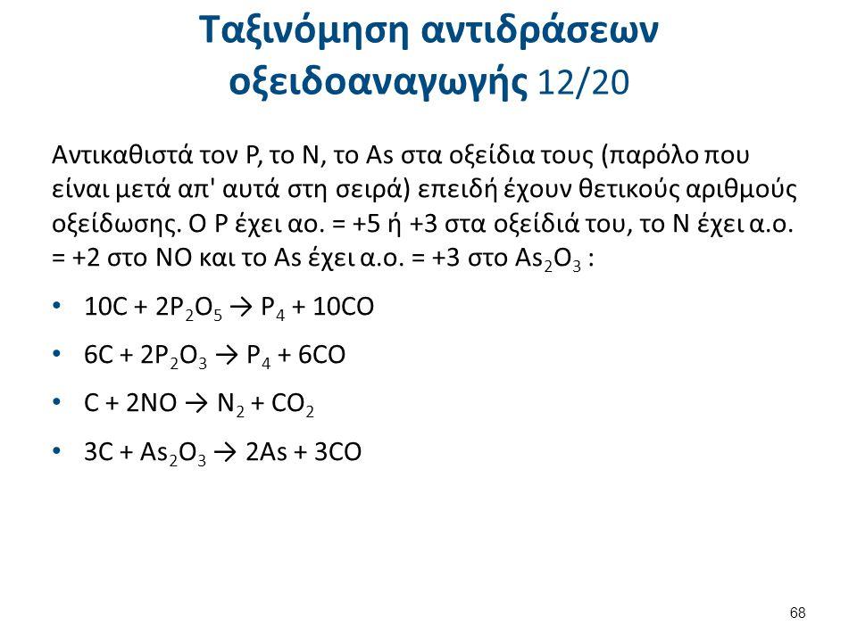 Ταξινόμηση αντιδράσεων οξειδοαναγωγής 12/20 Αντικαθιστά τον Ρ, το Ν, το As στα οξείδια τους (παρόλο που είναι μετά απ' αυτά στη σειρά) επειδή έχουν θε
