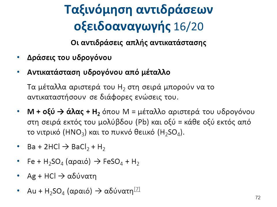 Ταξινόμηση αντιδράσεων οξειδοαναγωγής 16/20 Οι αντιδράσεις απλής αντικατάστασης Δράσεις του υδρογόνου Αντικατάσταση υδρογόνου από μέταλλο Τα μέταλλα α