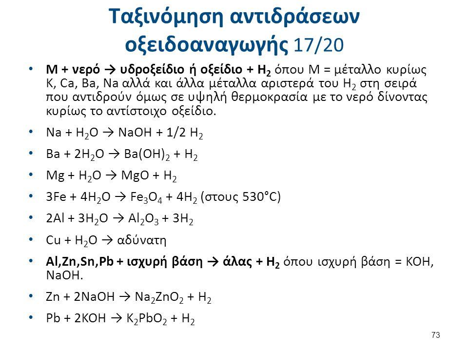 Ταξινόμηση αντιδράσεων οξειδοαναγωγής 17/20 Μ + νερό → υδροξείδιο ή οξείδιο + Η 2 όπου Μ = μέταλλο κυρίως K, Ca, Ba, Na αλλά και άλλα μέταλλα αριστερά