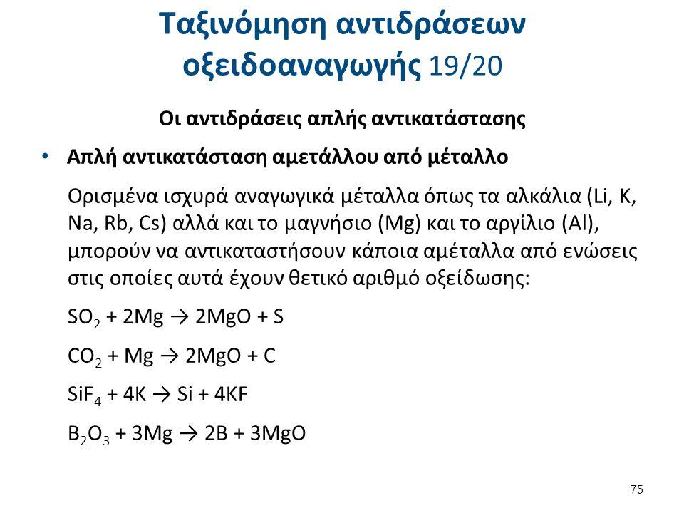 Ταξινόμηση αντιδράσεων οξειδοαναγωγής 19/20 Οι αντιδράσεις απλής αντικατάστασης Απλή αντικατάσταση αμετάλλου από μέταλλο Ορισμένα ισχυρά αναγωγικά μέτ