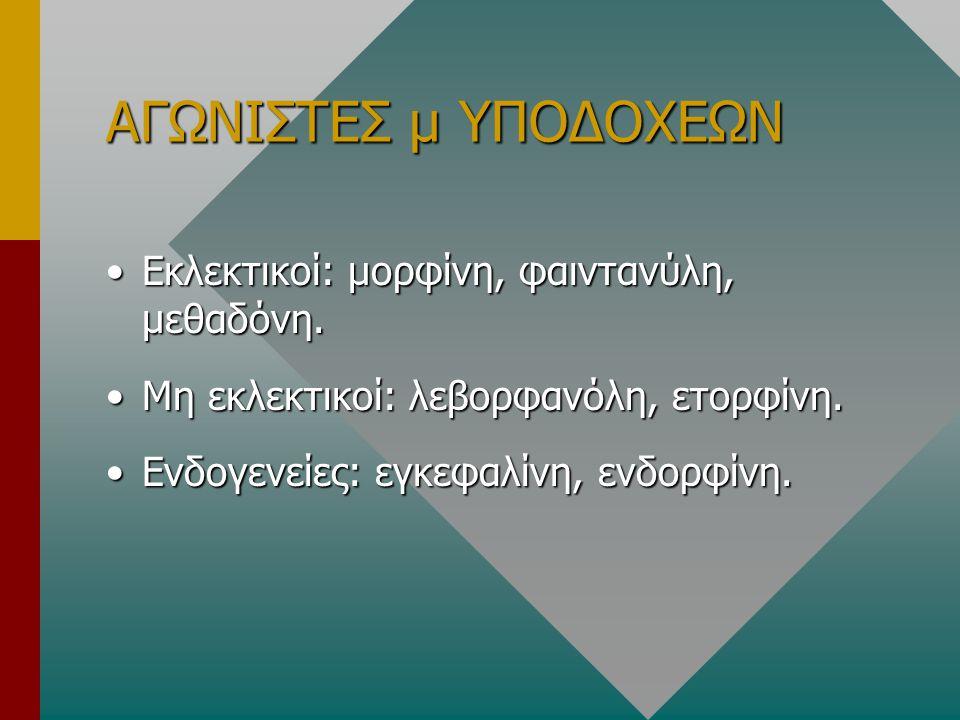 ΑΓΩΝΙΣΤΕΣ μ ΥΠΟΔΟΧΕΩΝ Εκλεκτικοί: μορφίνη, φαιντανύλη, μεθαδόνη.Εκλεκτικοί: μορφίνη, φαιντανύλη, μεθαδόνη. Μη εκλεκτικοί: λεβορφανόλη, ετορφίνη.Μη εκλ