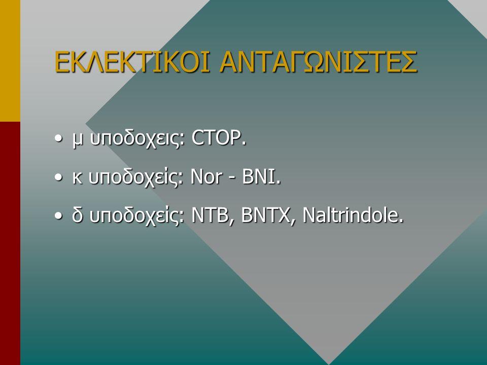 ΕΚΛΕΚΤΙΚΟΙ ΑΝΤΑΓΩΝΙΣΤΕΣ μ υποδοχεις: CTOP.μ υποδοχεις: CTOP. κ υποδοχείς: Nor - BNI.κ υποδοχείς: Nor - BNI. δ υποδοχείς: NTB, BNTX, Naltrindole.δ υποδ