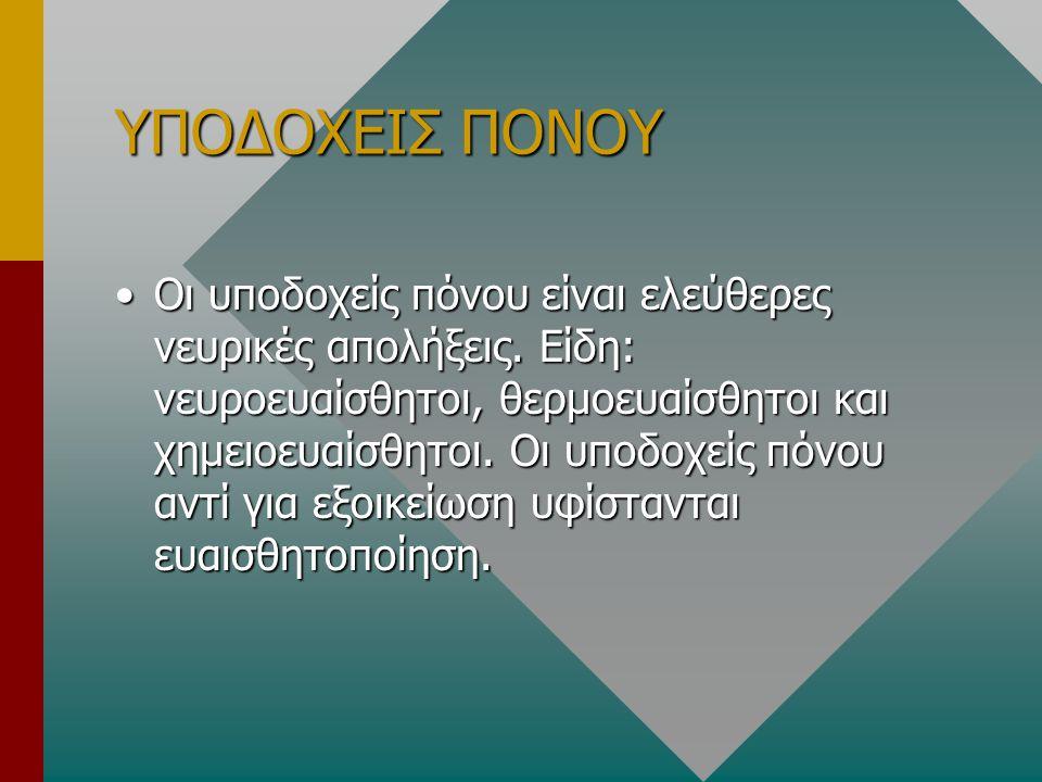 ΝΕΥΡΟΠΕΠΤΙΔΙΑ ΠΟΥ ΣΧΕΤΙΖΟΝΤΑΙ ΜΕ ΤΟΝ ΠΟΝΟ Α)Η ουσία Ρ είναι νευροδιαβιβαστής των C (IV) ινών που ξεκινούν από το πέταλο ΙΙ και ΙΙΙ του ΝΜ.Α)Η ουσία Ρ είναι νευροδιαβιβαστής των C (IV) ινών που ξεκινούν από το πέταλο ΙΙ και ΙΙΙ του ΝΜ.