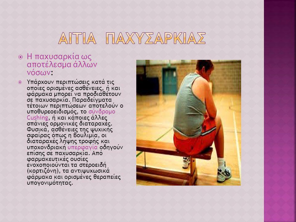  Η παχυσαρκία ως αποτέλεσμα άλλων νόσων:  Υπάρχουν περιπτώσεις κατά τις οποίες ορισμένες ασθένειες, ή και φάρμακα μπορεί να προδιαθέτουν σε παχυσαρκ