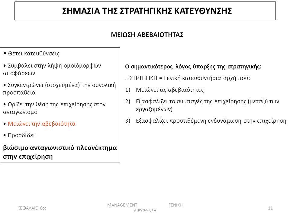 ΚΕΦΑΛΑΙΟ 6ο: MANAGEMENT ΓΕΝΙΚΗ ΔΙΕΥΘΥΝΣΗ 11 ΣΗΜΑΣΙΑ ΤΗΣ ΣΤΡΑΤΗΓΙΚΗΣ ΚΑΤΕΥΘΥΝΣΗΣ ΜΕΙΩΣΗ ΑΒΕΒΑΙΟΤΗΤΑΣ Θέτει κατευθύνσεις Συμβάλει στην λήψη ομοιόμορφων αποφάσεων Συγκεντρώνει (στοχευμένα) την συνολική προσπάθεια Ορίζει την θέση της επιχείρησης στον ανταγωνισμό Μειώνει την αβεβαιότητα Προσδίδει: βιώσιμο ανταγωνιστικό πλεονέκτημα στην επιχείρηση Ο σημαντικότερος λόγος ύπαρξης της στρατηγικής:.
