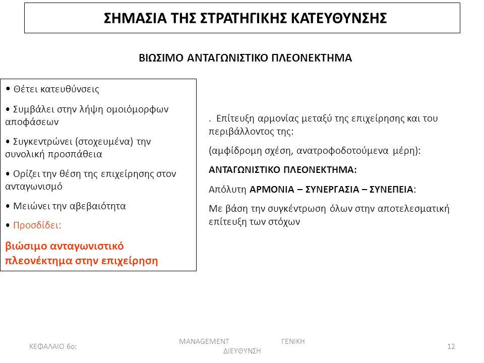 ΚΕΦΑΛΑΙΟ 6ο: MANAGEMENT ΓΕΝΙΚΗ ΔΙΕΥΘΥΝΣΗ 12 ΣΗΜΑΣΙΑ ΤΗΣ ΣΤΡΑΤΗΓΙΚΗΣ ΚΑΤΕΥΘΥΝΣΗΣ ΒΙΩΣΙΜΟ ΑΝΤΑΓΩΝΙΣΤΙΚΟ ΠΛΕΟΝΕΚΤΗΜΑ Θέτει κατευθύνσεις Συμβάλει στην λήψη ομοιόμορφων αποφάσεων Συγκεντρώνει (στοχευμένα) την συνολική προσπάθεια Ορίζει την θέση της επιχείρησης στον ανταγωνισμό Μειώνει την αβεβαιότητα Προσδίδει: βιώσιμο ανταγωνιστικό πλεονέκτημα στην επιχείρηση.