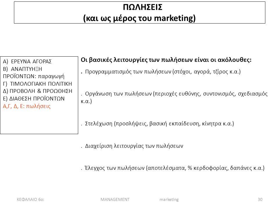 ΚΕΦΑΛΑΙΟ 6ο:MANAGEMENT marketing30 ΠΩΛΗΣΕΙΣ (και ως μέρος του marketing) Α) ΕΡΕΥΝΑ ΑΓΟΡΑΣ Β) ΑΝΑΠΤΥΗΞΗ ΠΡΟΪΟΝΤΩΝ: παραγωγή Γ) ΤΙΜΟΛΟΓΙΑΚΗ ΠΟΛΙΤΙΚΗ Δ) ΠΡΟΒΟΛΗ & ΠΡΟΩΘΗΣΗ Ε) ΔΙΑΘΕΣΗ ΠΡΟΪΟΝΤΩΝ Α,Γ, Δ, Ε: πωλήσεις Οι βασικές λειτουργίες των πωλήσεων είναι οι ακόλουθες:.