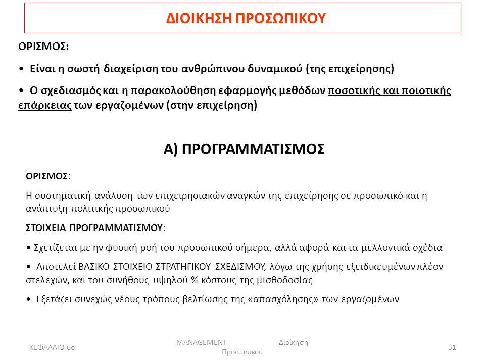 ΚΕΦΑΛΑΙΟ 6ο: MANAGEMENT Διοίκηση Προσωπικού 31 ΔΙΟΙΚΗΣΗ ΠΡΟΣΩΠΙΚΟΥ ΟΡΙΣΜΟΣ: Είναι η σωστή διαχείριση του ανθρώπινου δυναμικού (της επιχείρησης) Ο σχεδιασμός και η παρακολούθηση εφαρμογής μεθόδων ποσοτικής και ποιοτικής επάρκειας των εργαζομένων (στην επιχείρηση) Α) ΠΡΟΓΡΑΜΜΑΤΙΣΜΟΣ ΟΡΙΣΜΟΣ: Η συστηματική ανάλυση των επιχειρησιακών αναγκών της επιχείρησης σε προσωπικό και η ανάπτυξη πολιτικής προσωπικού ΣΤΟΙΧΕΙΑ ΠΡΟΓΡΑΜΜΑΤΙΣΜΟΥ: Σχετίζεται με ην φυσική ροή του προσωπικού σήμερα, αλλά αφορά και τα μελλοντικά σχέδια Αποτελεί ΒΑΣΙΚΟ ΣΤΟΙΧΕΙΟ ΣΤΡΑΤΗΓΙΚΟΥ ΣΧΕΔΙΣΜΟΥ, λόγω της χρήσης εξειδικευμένων πλέον στελεχών, και του συνήθους υψηλού % κόστους της μισθοδοσίας Εξετάζει συνεχώς νέους τρόπους βελτίωσης της «απασχόλησης» των εργαζομένων