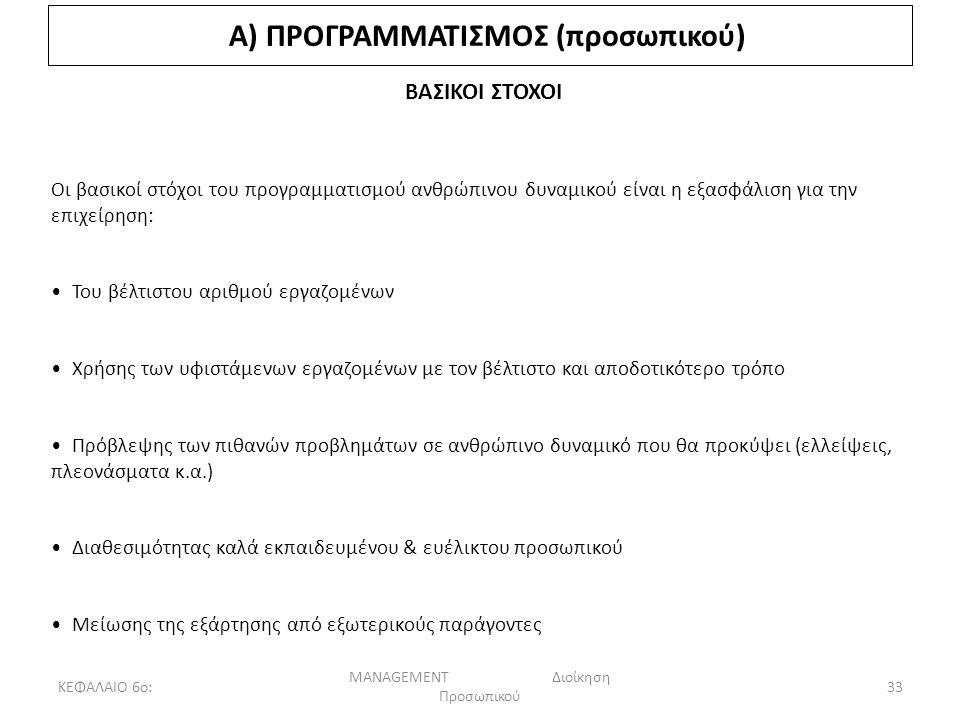 ΚΕΦΑΛΑΙΟ 6ο: MANAGEMENT Διοίκηση Προσωπικού 33 Α) ΠΡΟΓΡΑΜΜΑΤΙΣΜΟΣ (προσωπικού) ΒΑΣΙΚΟΙ ΣΤΟΧΟΙ Οι βασικοί στόχοι του προγραμματισμού ανθρώπινου δυναμικού είναι η εξασφάλιση για την επιχείρηση: Του βέλτιστου αριθμού εργαζομένων Χρήσης των υφιστάμενων εργαζομένων με τον βέλτιστο και αποδοτικότερο τρόπο Πρόβλεψης των πιθανών προβλημάτων σε ανθρώπινο δυναμικό που θα προκύψει (ελλείψεις, πλεονάσματα κ.α.) Διαθεσιμότητας καλά εκπαιδευμένου & ευέλικτου προσωπικού Μείωσης της εξάρτησης από εξωτερικούς παράγοντες