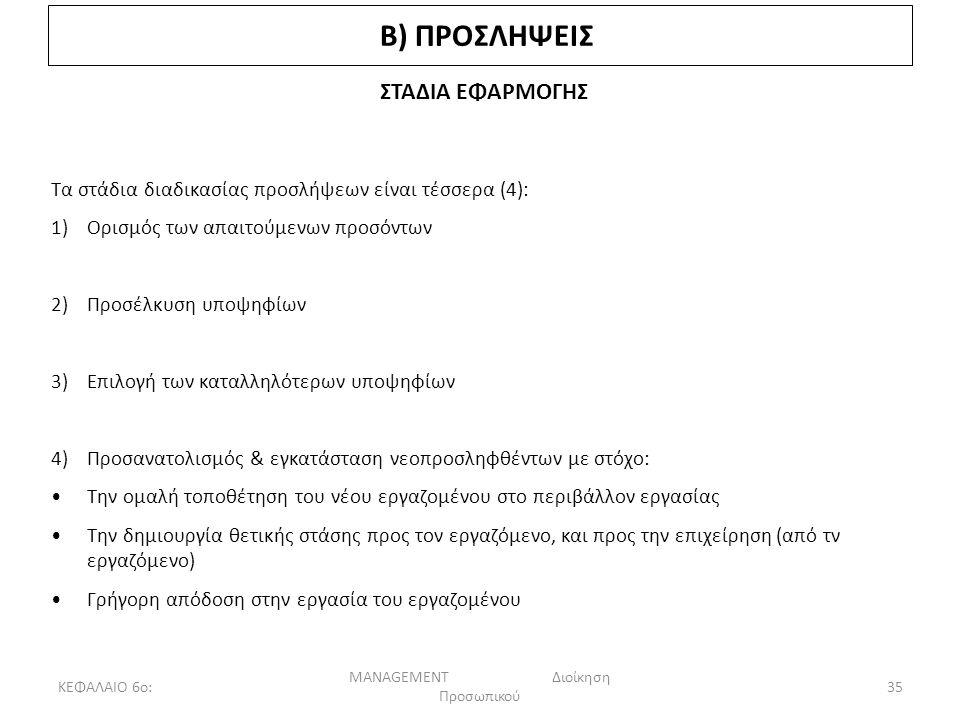 ΚΕΦΑΛΑΙΟ 6ο: MANAGEMENT Διοίκηση Προσωπικού 35 Β) ΠΡΟΣΛΗΨΕΙΣ ΣΤΑΔΙΑ ΕΦΑΡΜΟΓΗΣ Τα στάδια διαδικασίας προσλήψεων είναι τέσσερα (4): 1)Ορισμός των απαιτούμενων προσόντων 2)Προσέλκυση υποψηφίων 3)Επιλογή των καταλληλότερων υποψηφίων 4)Προσανατολισμός & εγκατάσταση νεοπροσληφθέντων με στόχο: Την ομαλή τοποθέτηση του νέου εργαζομένου στο περιβάλλον εργασίας Την δημιουργία θετικής στάσης προς τον εργαζόμενο, και προς την επιχείρηση (από τν εργαζόμενο) Γρήγορη απόδοση στην εργασία του εργαζομένου