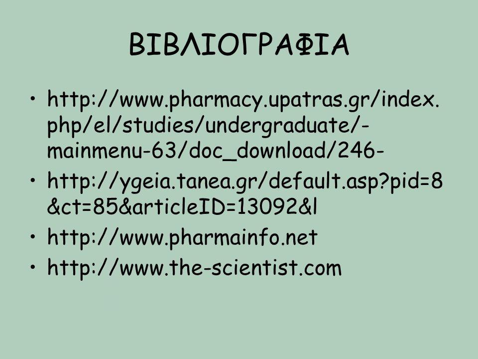 ΒΙΒΛΙΟΓΡΑΦΙΑ http://www.pharmacy.upatras.gr/index. php/el/studies/undergraduate/- mainmenu-63/doc_download/246- http://ygeia.tanea.gr/default.asp?pid=