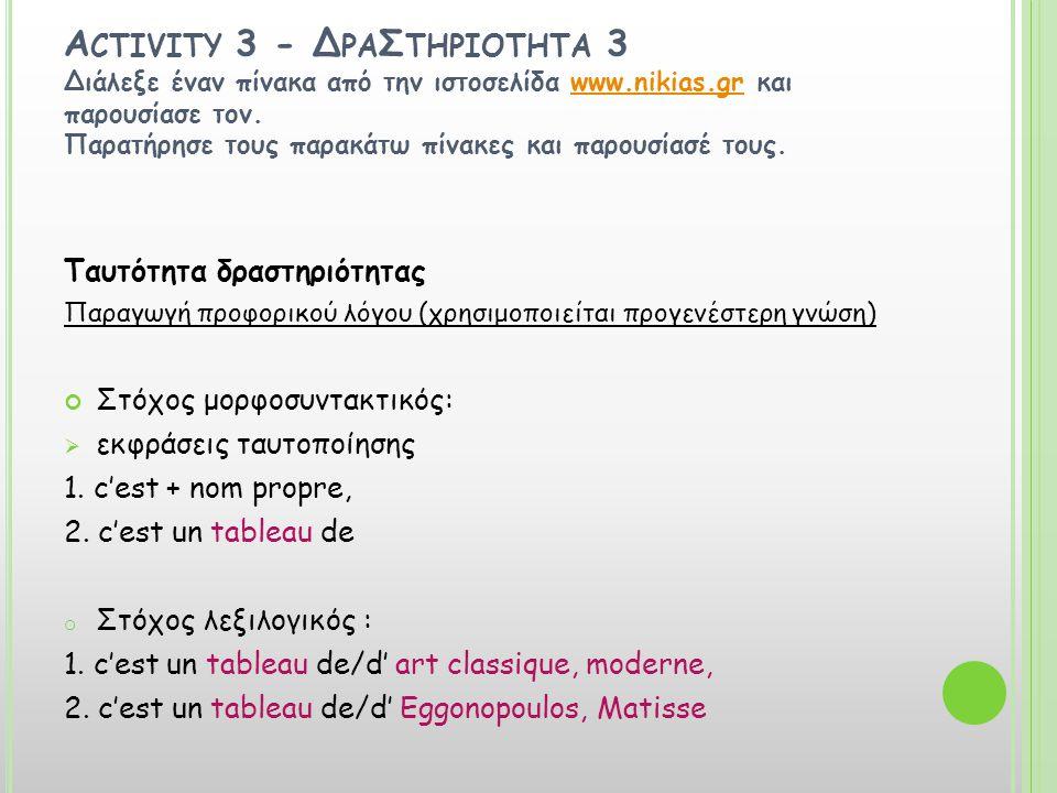 Ταυτότητα της δραστηριότητας 3 Παιδαγωγικοί στόχοι: 1.