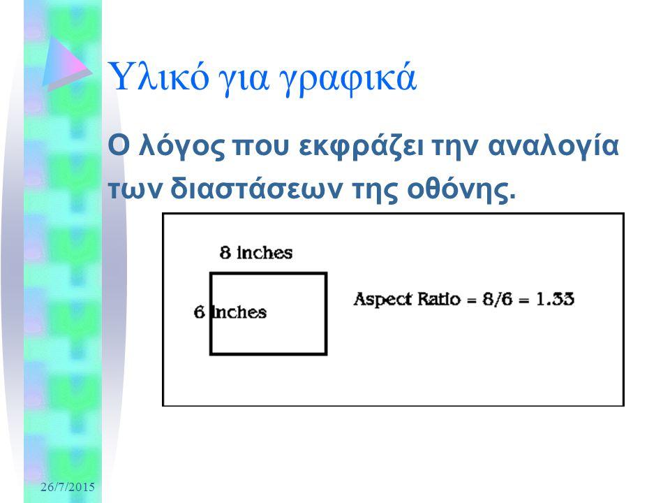26/7/2015 Υλικό για γραφικά Ο λόγος που εκφράζει την αναλογία των διαστάσεων της οθόνης.