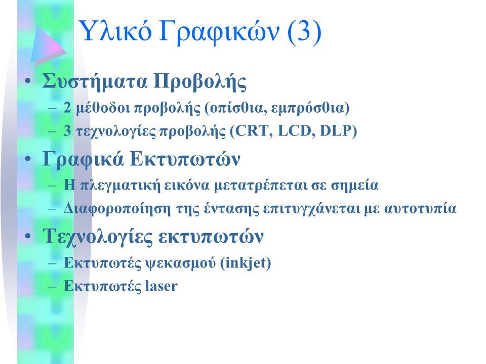 Υλικό Γραφικών (3) Συστήματα Προβολής –2 μέθοδοι προβολής (οπίσθια, εμπρόσθια) –3 τεχνολογίες προβολής (CRT, LCD, DLP) Γραφικά Εκτυπωτών –Η πλεγματική εικόνα μετατρέπεται σε σημεία –Διαφοροποίηση της έντασης επιτυγχάνεται με αυτοτυπία Τεχνολογίες εκτυπωτών –Εκτυπωτές ψεκασμού (inkjet) –Εκτυπωτές laser