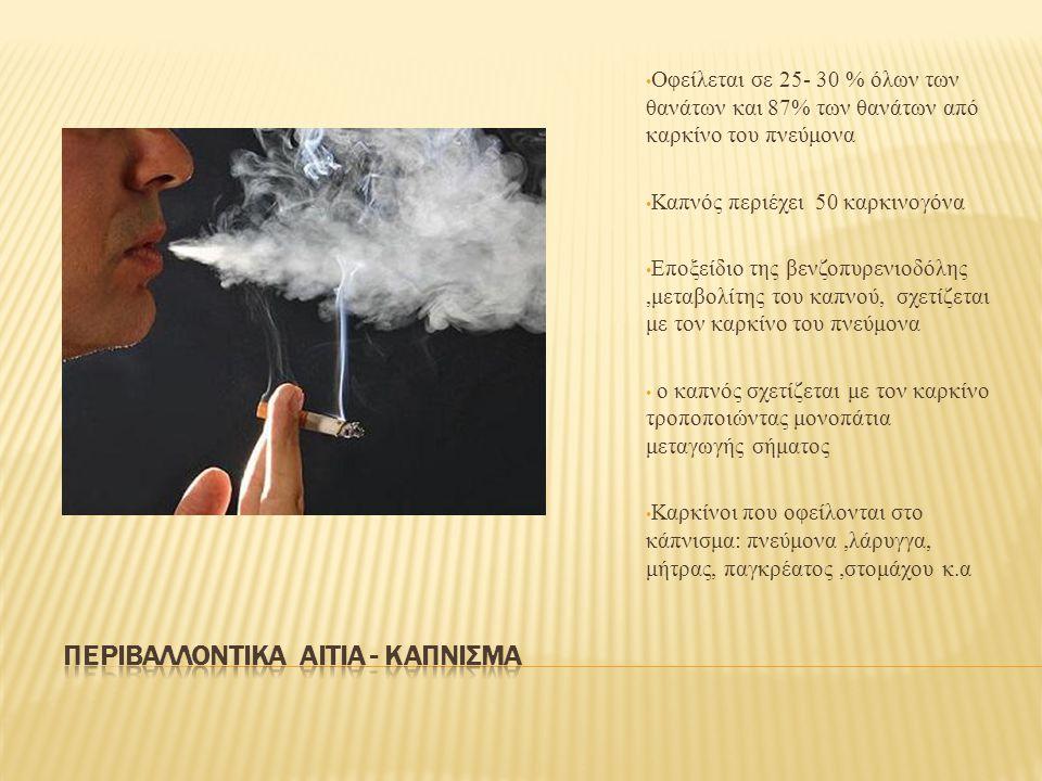 Οφείλεται σε 25- 30 % όλων των θανάτων και 87% των θανάτων από καρκίνο του πνεύμονα Καπνός περιέχει 50 καρκινογόνα Εποξείδιο της βενζοπυρενιοδόλης,μεταβολίτης του καπνού, σχετίζεται με τον καρκίνο του πνεύμονα ο καπνός σχετίζεται με τον καρκίνο τροποποιώντας μονοπάτια μεταγωγής σήματος Καρκίνοι που οφείλονται στο κάπνισμα: πνεύμονα,λάρυγγα, μήτρας, παγκρέατος,στομάχου κ.α